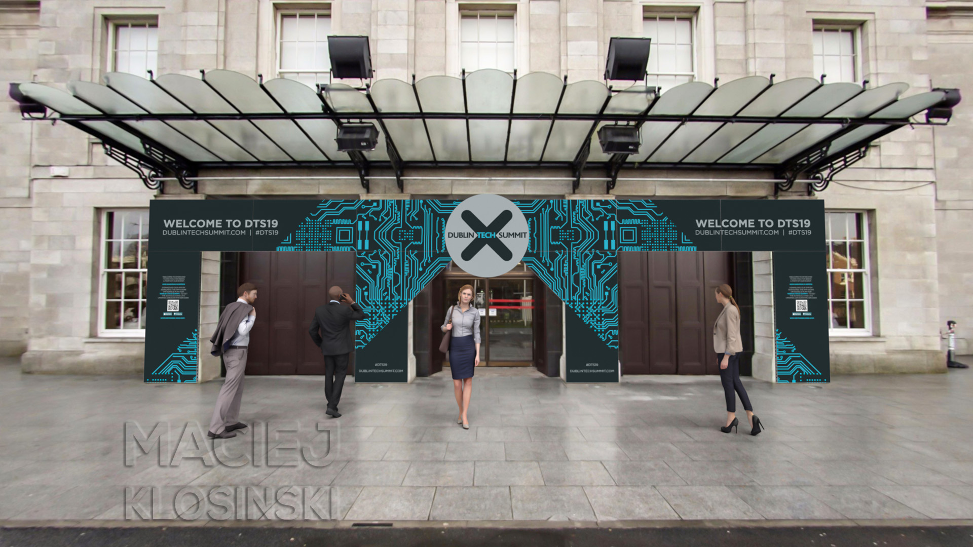 RDS Entrance branding at Dublin Tech Summit 2019